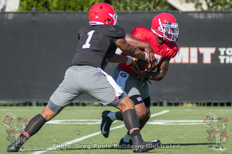 Justin Fields (1) hands off to D'Andre Swift (7)