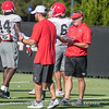 Kirby Smart works with linebackers