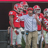 Kirby Smart talk to J.R. Reed (20) after a TD pass by UT