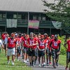 Georgia football players visit Camp Sunshine for the second time in 2018.