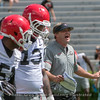 Kirby Smart gives advice to the Georgia defense on fan day
