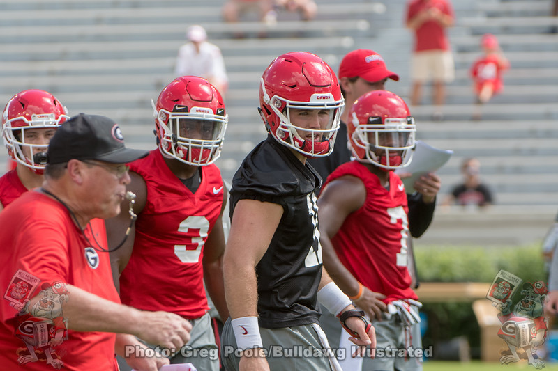 Jim Chaney, Zamir White (3), Jake Fromm (11) and D'Andre Swift (7)