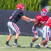 Jake Fromm (11) hands off to Brian Herrien (35) after a fake to D'Andre Swift (7)
