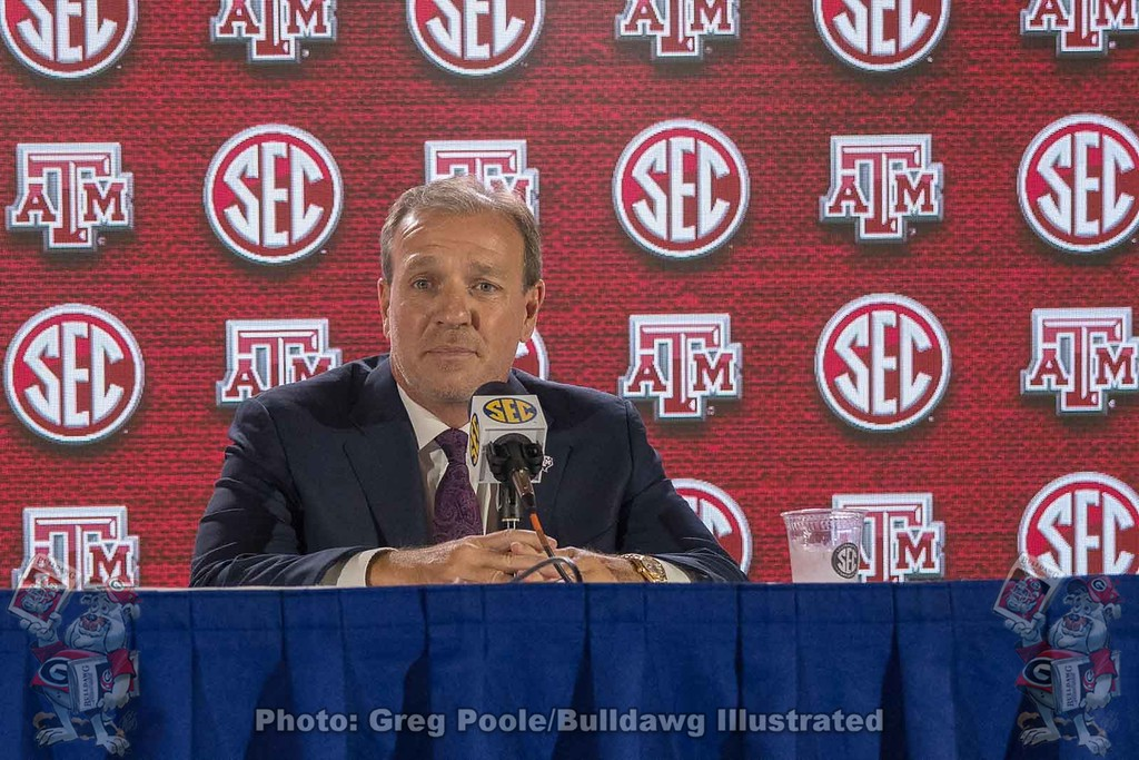 Texas A&M head coach Jimbo Fisher during day one of the 2018 SEC Football Media Days.