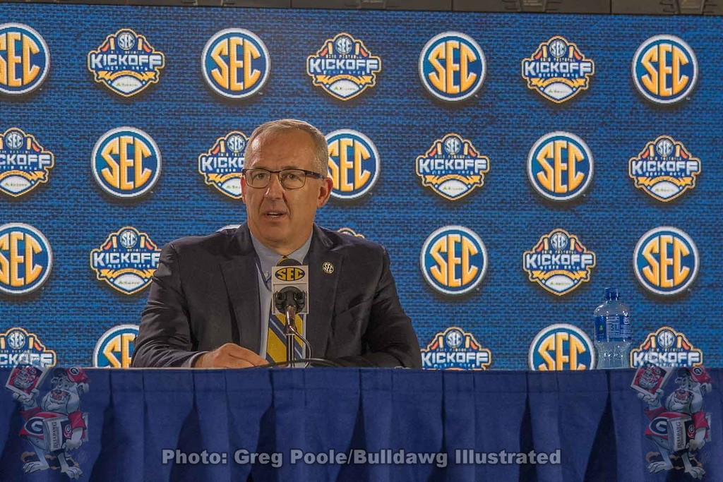 Greg Sankey addresses the media on day one of the 2018 SEC Football Media Days.