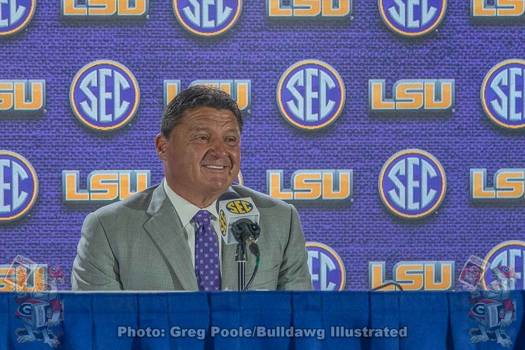 LSU's head coach Ed Orgeron on day one of the 2018 SEC Football Media Days.