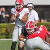 Justin Fields (1)  claps for the snap