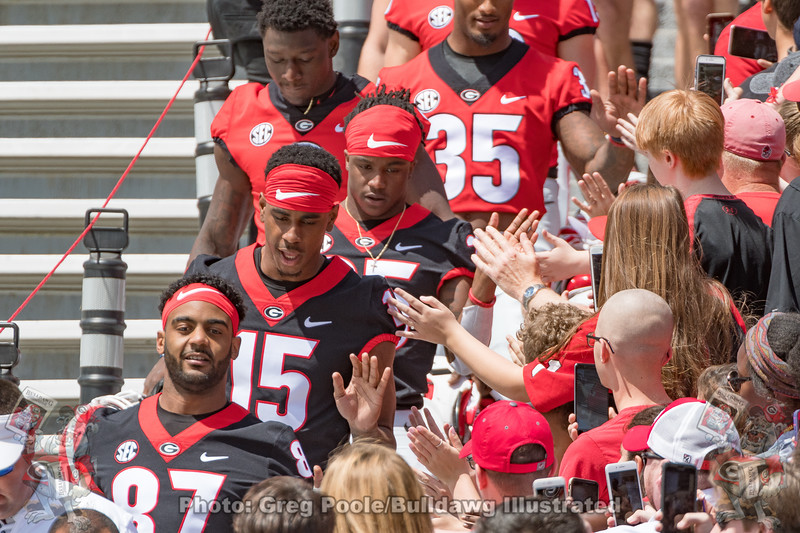 2018 G-Day Dawg Walk - the team walked down the Sanford Stadiumstep due to the west-endzone construction