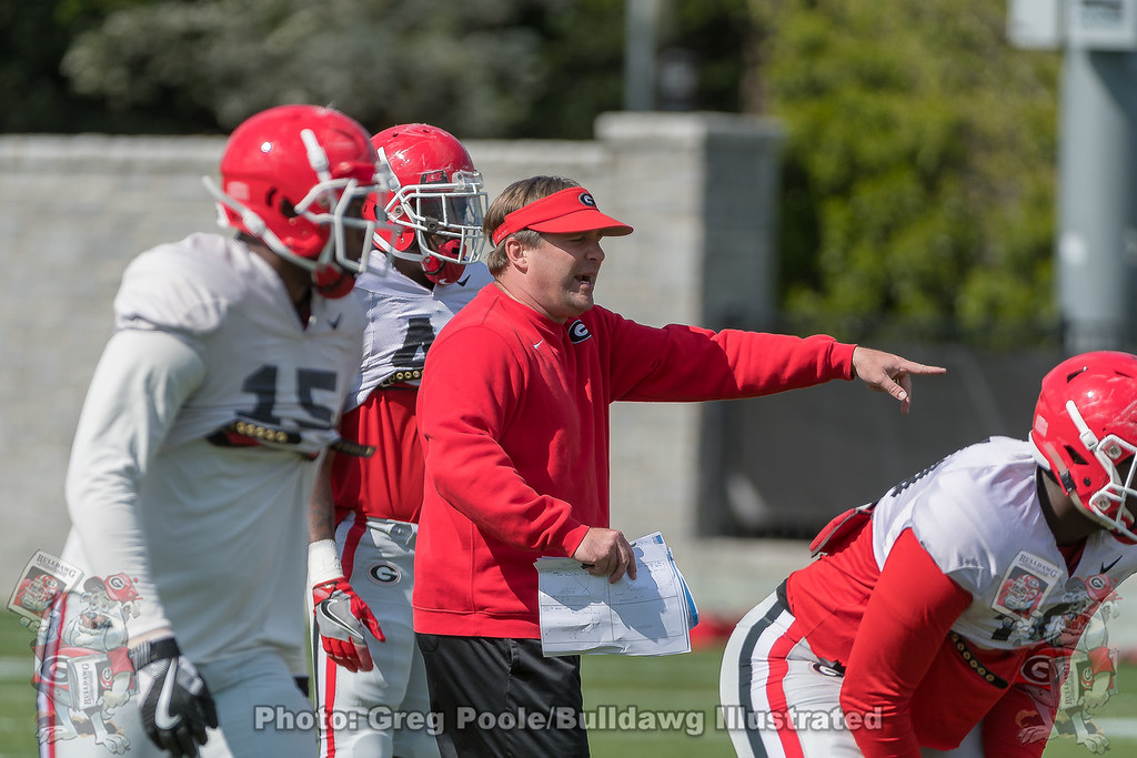 Kirby Smart directs the defense on day 10 of spring practice.