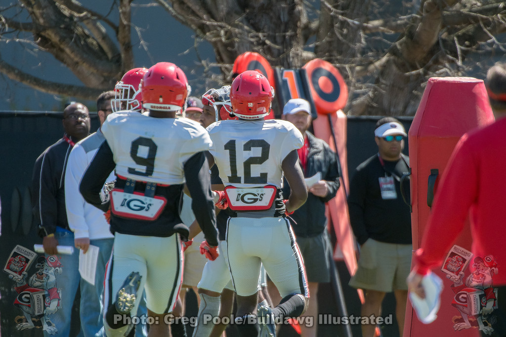 Ameer Speed(9) and Tray Bishop (12) - 2018 Spring Practice Day 6 - March 31, 2018