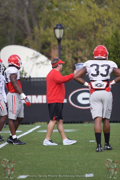 Kirby Smart with Robert Beal Jr.  - Spring Practice Day 7 - April 3, 2018