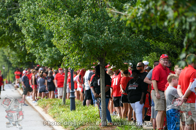 Fans line Smith Street waiting for the gates to open