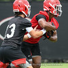Stetson Bennett (13) hands of to Kenny McIntosh (6)