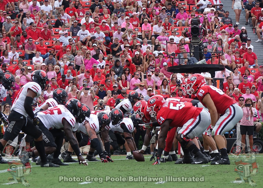 "Looking down the ""battle lines"" on Dooley Field in Sanford Stadium, third-quarter of the Arkansas State game, September 14, 2019"
