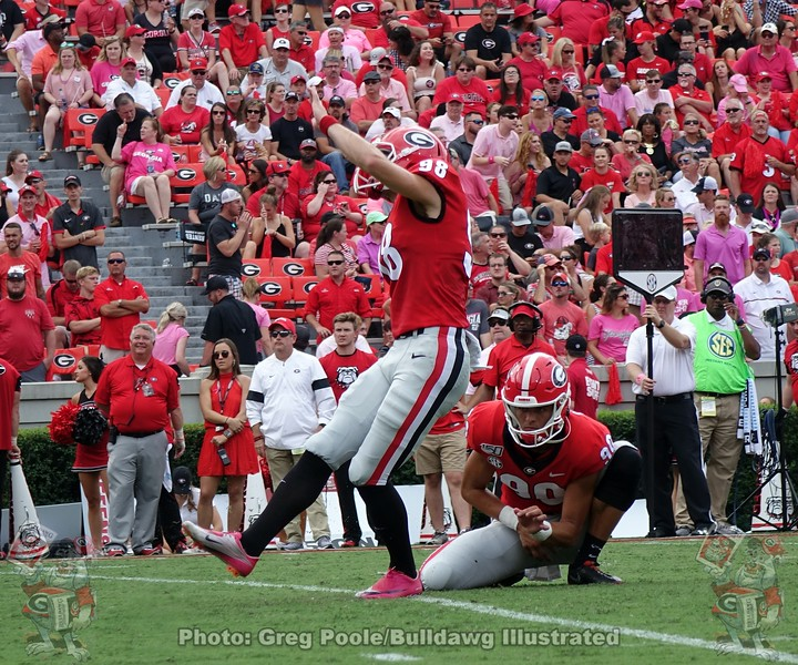 Rodrigo Blankenship (98) with a third-quarter PAT during the Arkansas State game,  Saturday, October 14, 2019