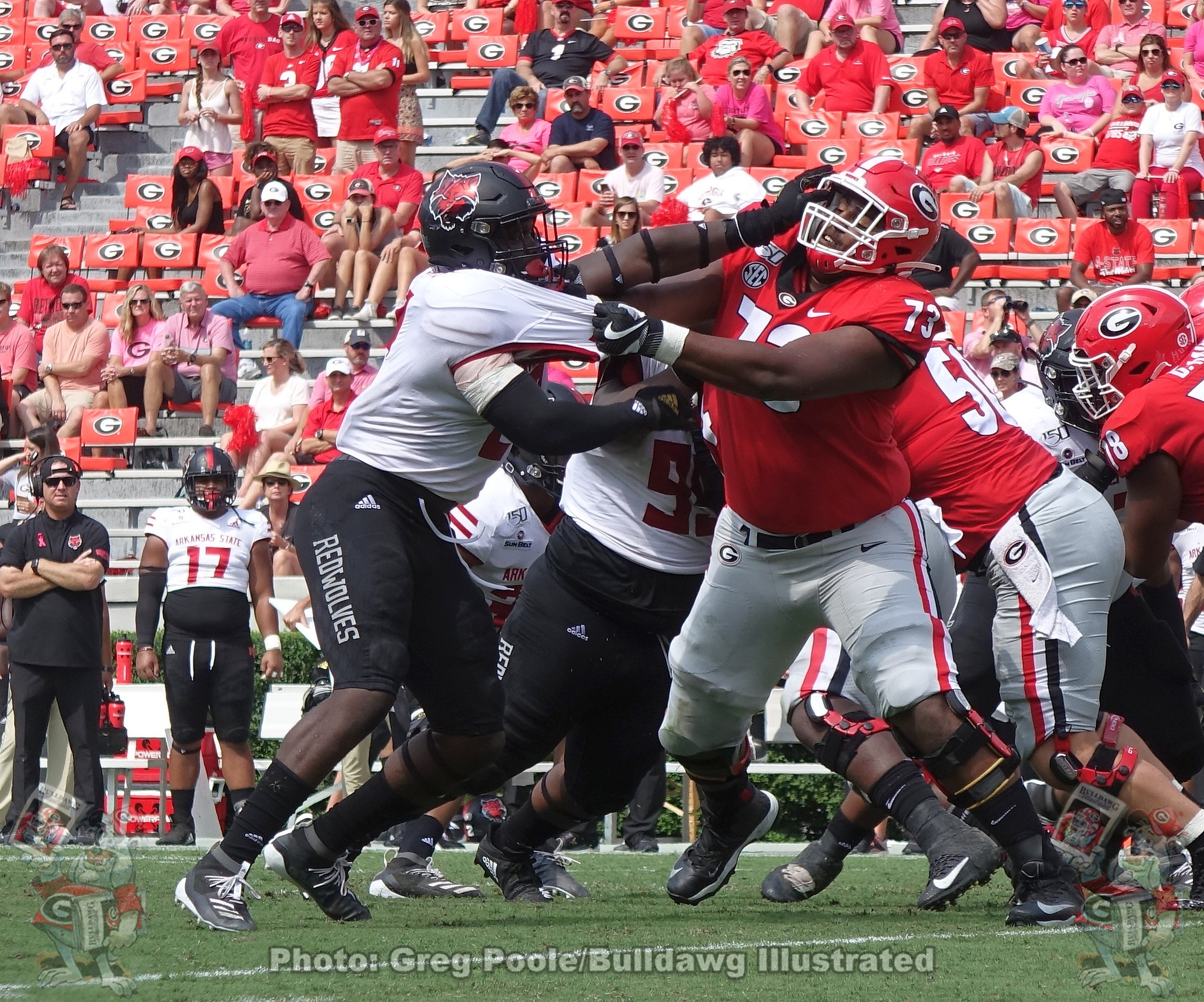 Xavier Truss (73) against Arkansas State