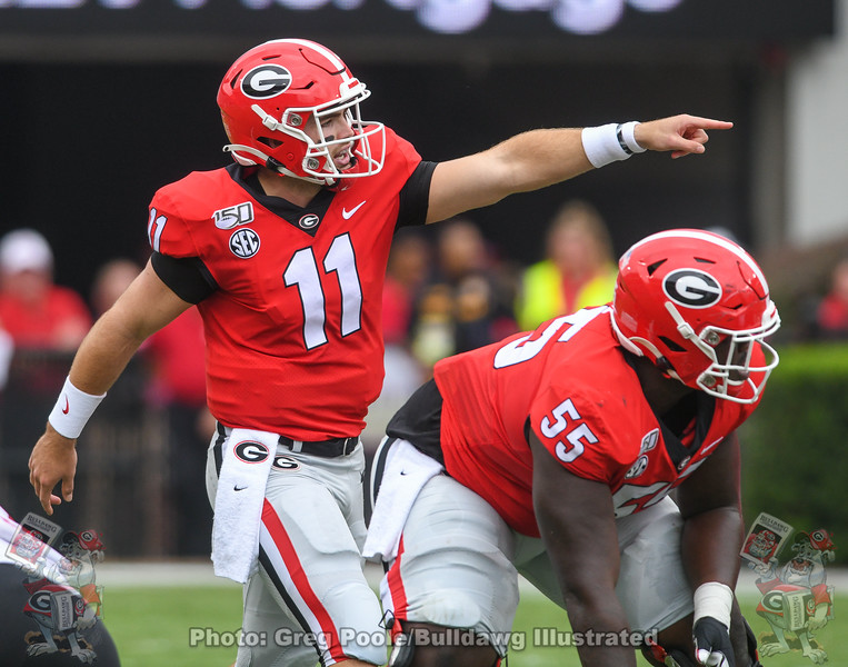 Jake Fromm (11) during the first quarter of the Arkansas State game, September 14, 2019