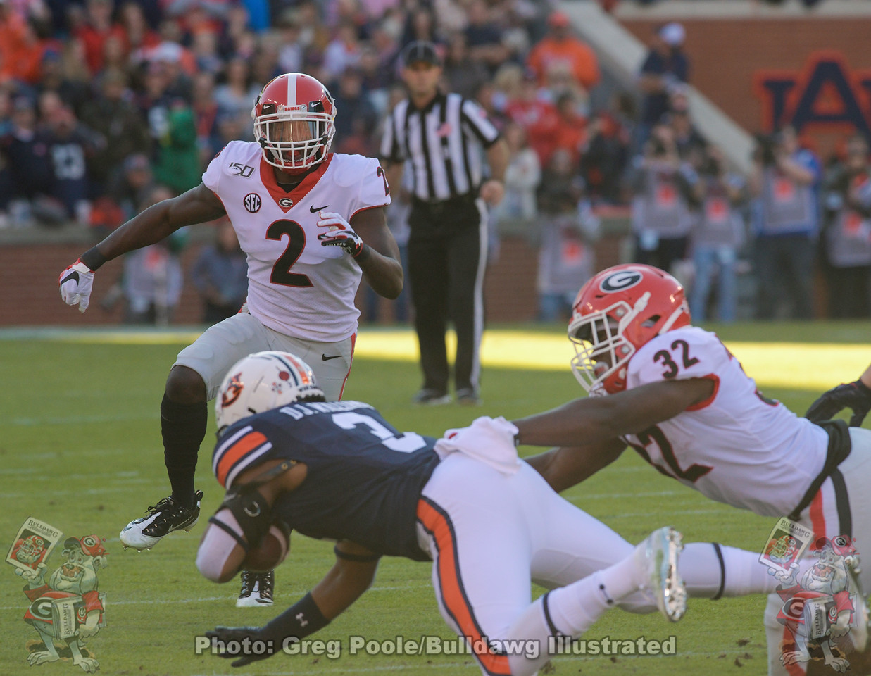 Richard LeCounte (2) and Monty Rice (32), Georgia vs. Auburn, Saturday, November 16, 2019