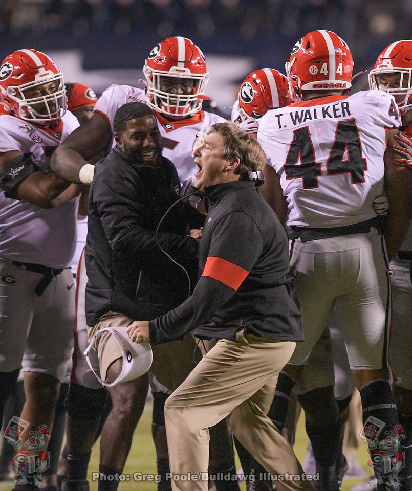Kirby Smart during the fourth quarter of the Georgia vs. Auburn game after d-lineman Travon Walker (44) sacks Bo Nix.