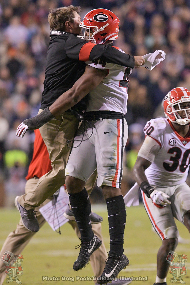 Who was more excited over Travon Walker sacking Tiger QB Bo Nix (10), No. 44 or Kirby Smart? - Georgia vs. Auburn, November 16, 2019 -