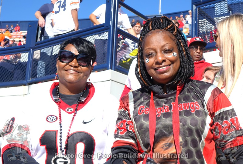 (left) Sabrina Mays from Forsyth, GA (mother of Malik Herring, No. 10) and (right) Veleca Crowder (mother of Tae Crowder, No. 30)