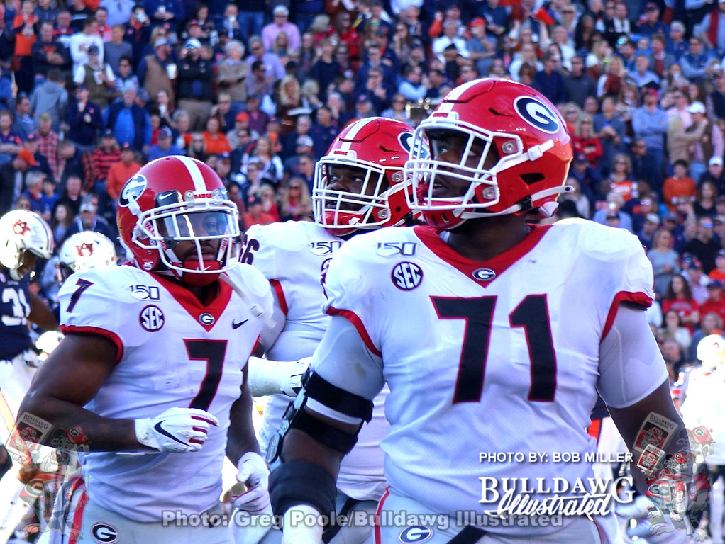 D'Andre Swift (7) and Andrew Thomas (71), Georgia vs. Auburn, November 16, 2019