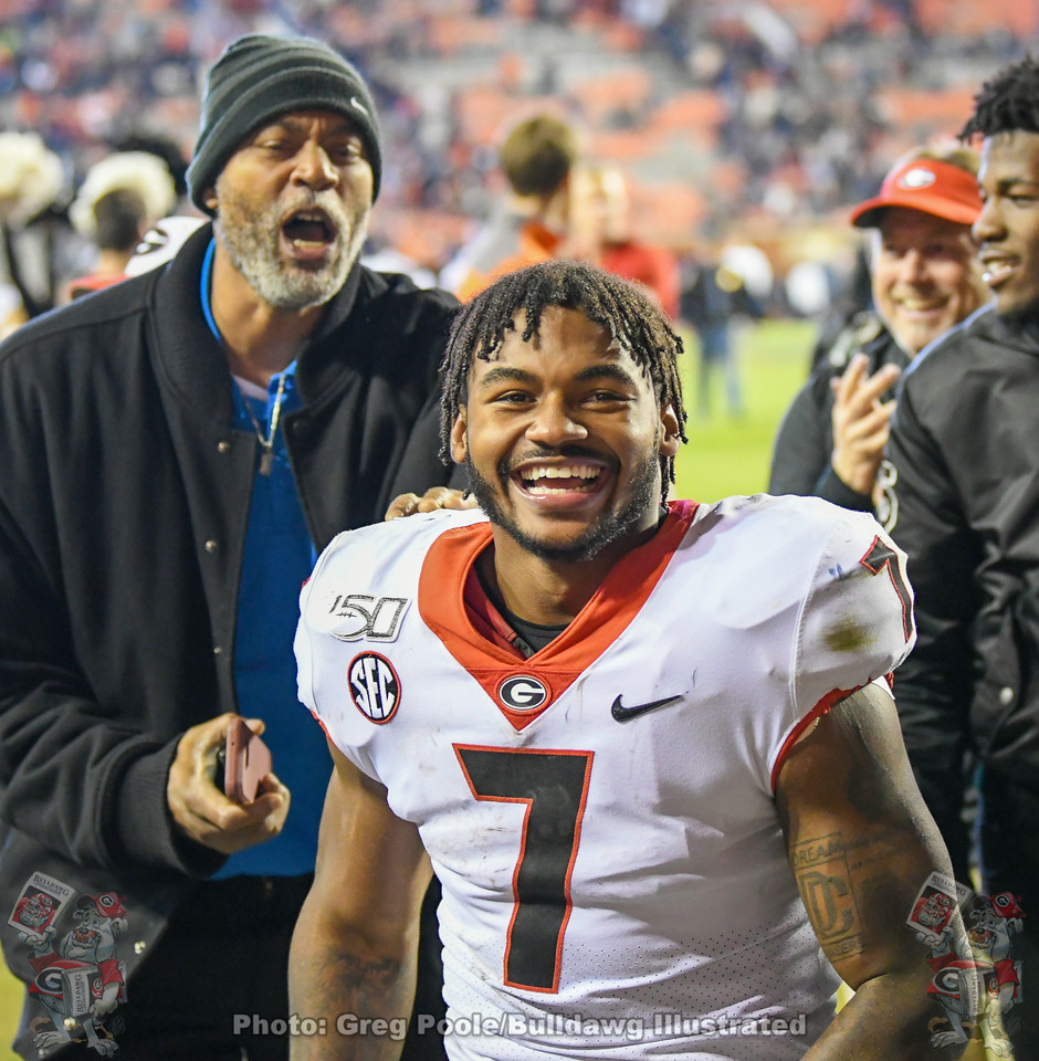 D'Andre Swift (7) is all smile after Georgia defeats Auburn 21-14 on Saturday, November 16, 2019