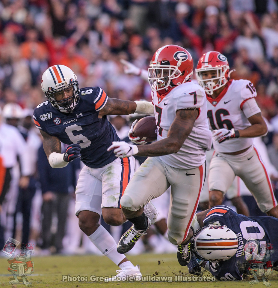D'Andre Swift (7) during the second quarter of Georgia vs. Auburn, Saturday, November 16, 2019