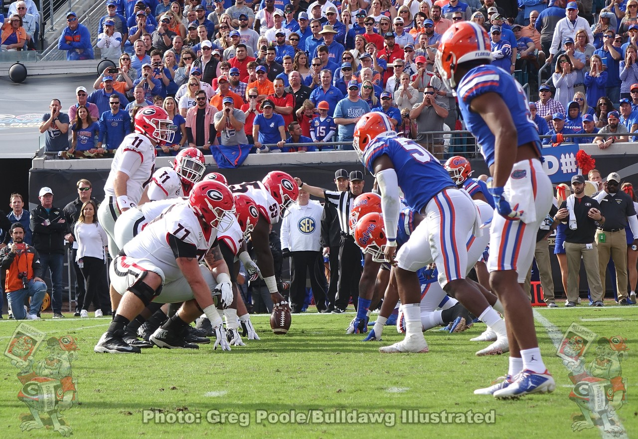 Looking down an SEC battle line, the line of scrimmage, First-Quarter, Georgia-Florida game, Saturday, November 2, 2019