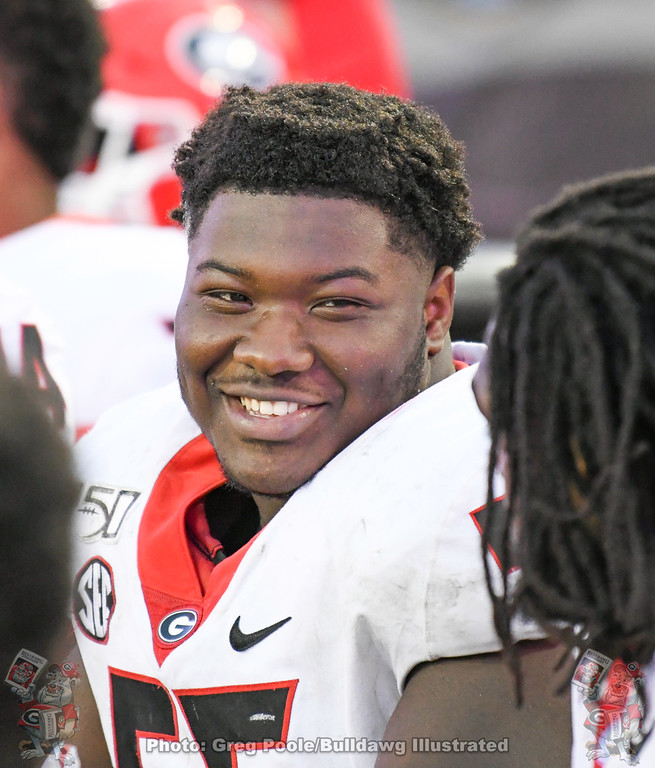 UGA offensive line and starting center Trey Hill is all smiles during the fourth quarter of the Florida Game on Saturday, November 2, 2019