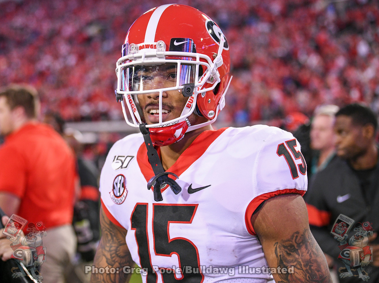 Wide receiver Lawrence Cager (15) is all smiles after Georgia's 24-17 win over Florida on Saturday, November 2, 2019