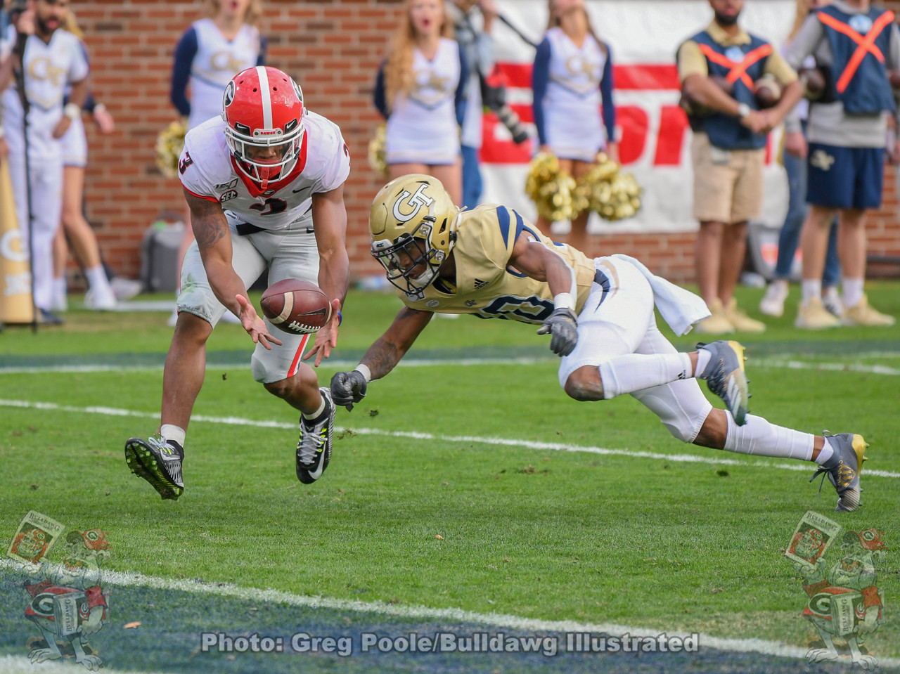 UGA defensive back Tyson Campbell (3) recovers a muffed punt by the Yellow Jackets in the fourth quarter of the Georgia Tech, Saturday, November 30, 2019