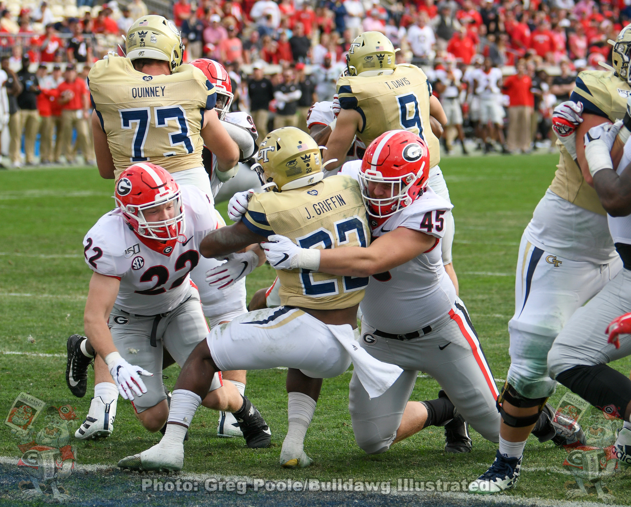 Nate McBride (22) and Bill Norton (45) - Georgia vs. Georgia Tech 2019 - Fourth Quarter - November 30, 2019