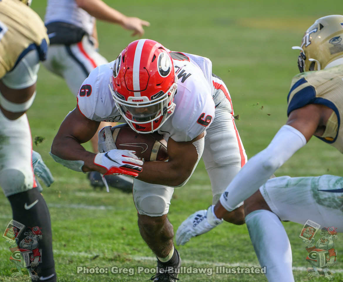 UGA running back Kenny McIntosh (6) | Georgia vs. Georgia Tech - Fourth Quarter | Saturday, November 30, 2019