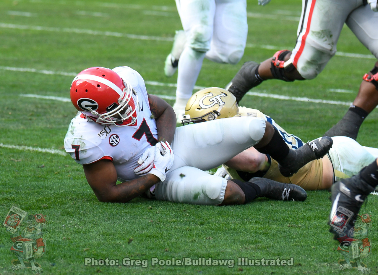UGA running back D'Andre Swift appears to suffer an injury to his left arm during the third quarter of the Georgia Tech game on Saturday, November 30, 2019.