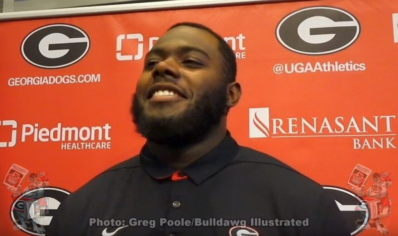 Andrew Thomas during player interviews on Tuesday, November 26, 2019