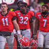 Captains - Jake Fromm (11), Monty Rice (32) and D'Andre Swift (7)