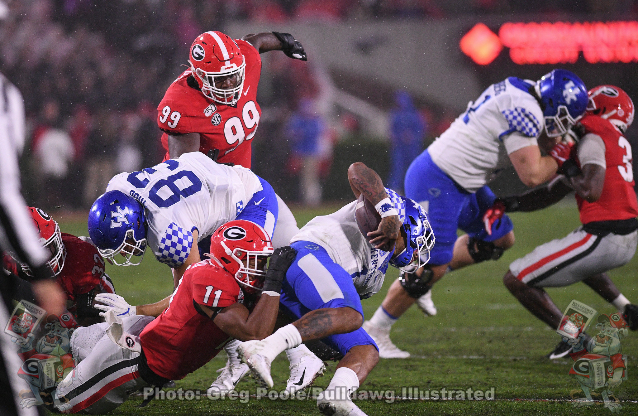 Jermaine Johnson (11) sacks Kentucky quarterback Lynn Bowden Jr. - Georgia vs. Kentucky 2019 - Second Quarter - October 19, 2019