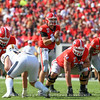 Jake Fromm (11), Cade Mays (77), Ben Cleveland (74), and Brian Herrien (35)