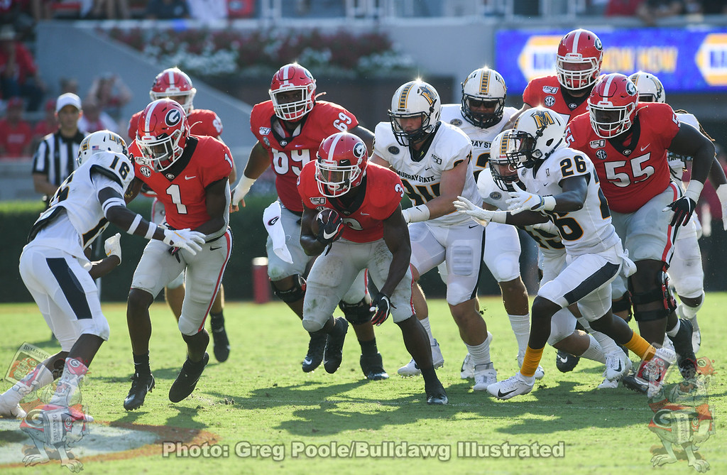 Georgia RB Zamir White (3) runs behind WR Georgia Pickens (1) block during the 3rd quarter of the Murray State game, Saturday, September 7, 2019
