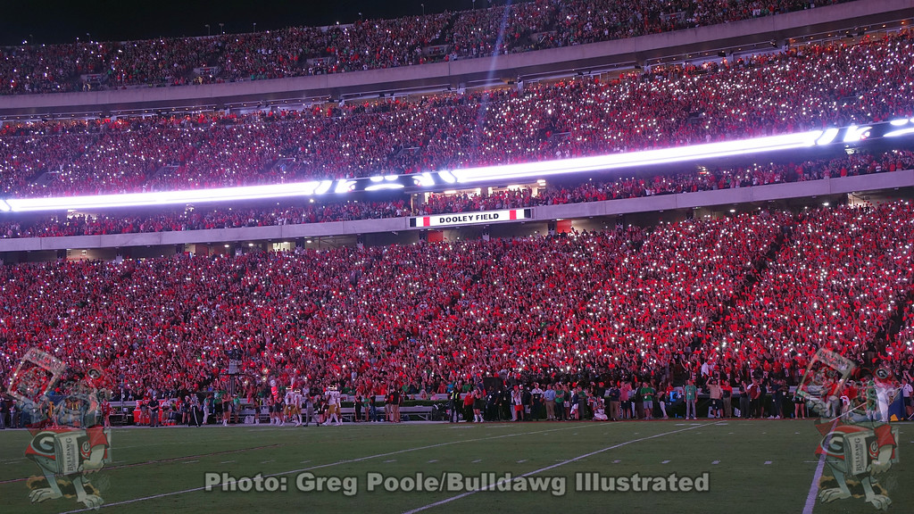 Just a taste of what is to come with the experience of Sanford Stadium's new LED lighting and PA system during Saturday night's Notre Dame game, September 21, 2019
