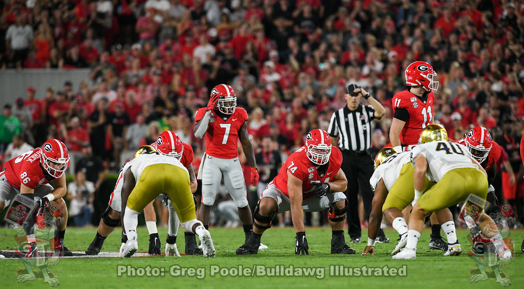 Georgia quarterback Jake Fromm (11) surveys the LOS with running back D'Andre Swit (7) lined up in the backfield, 1st-quarter of the Notre Dame game on Saturday, Sept. 21, 2019.