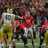 Jake Fromm (11) calling the shots during the 4th-quarter of the Notre Dame game