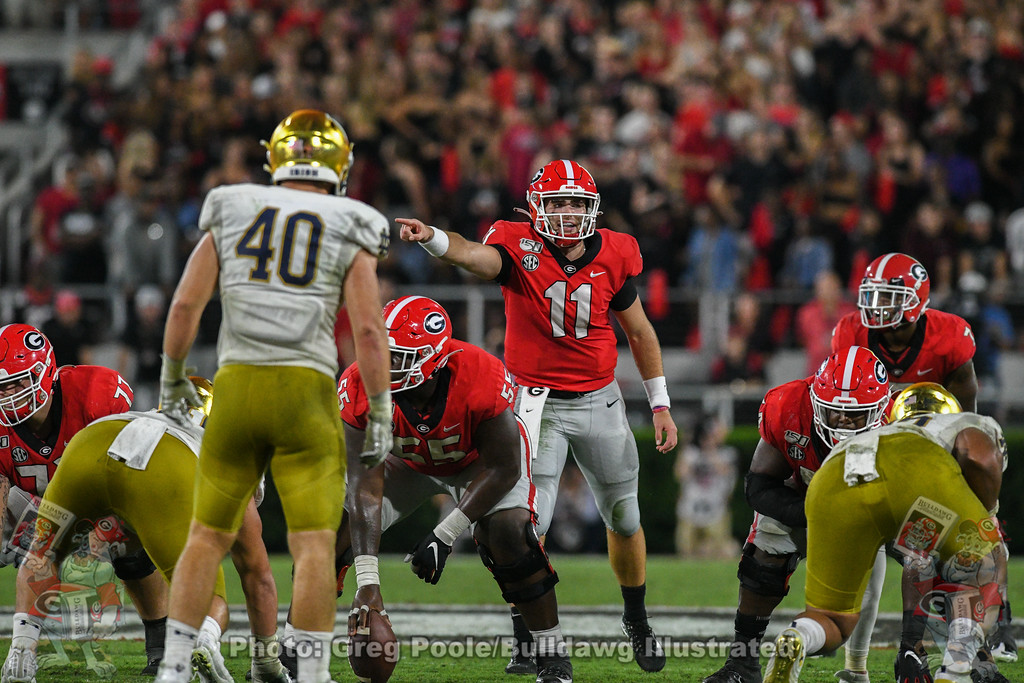 Jake Fromm (11) calling the shots during the 4th-quarter of the Notre Dame game, Saturday, September 21, 2019