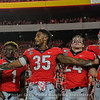 Brian Herrien (35) celebrates with his teammates after Georgia's 23-17 victory over Notre Dame