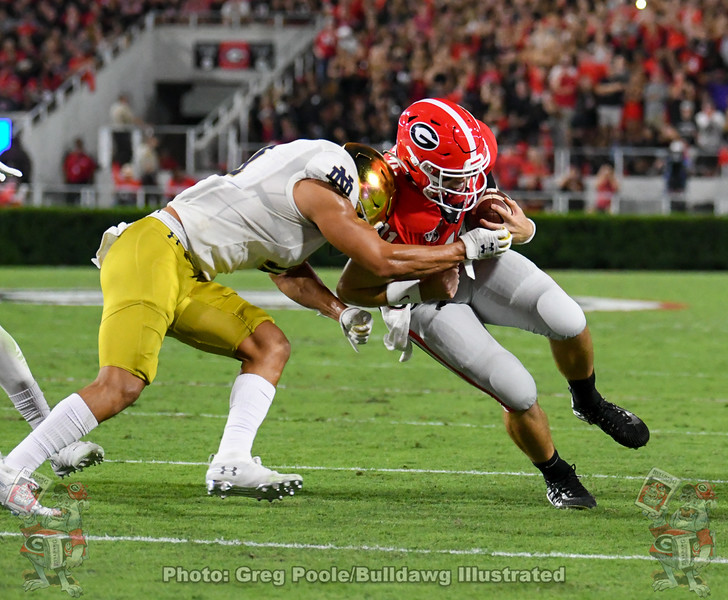 Jake Fromm (11) during the second quarter of the Notre Dame game on Saturday, September 21, 2019