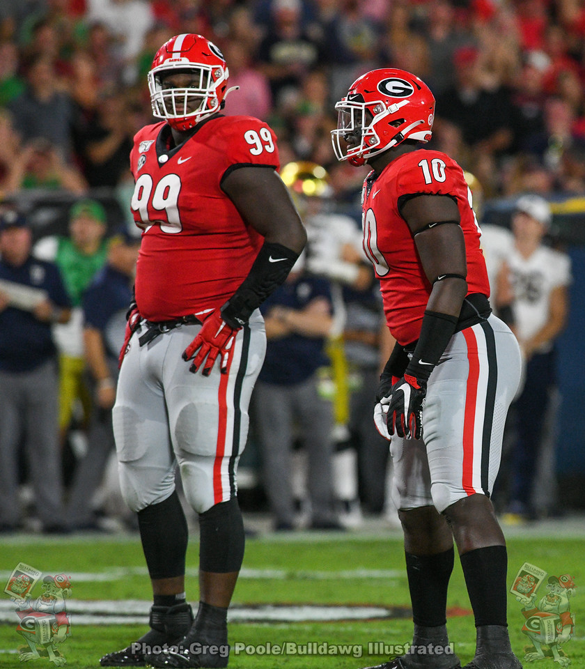UGA d-linemen Jordan Davis (99) and Malik Herring (10)