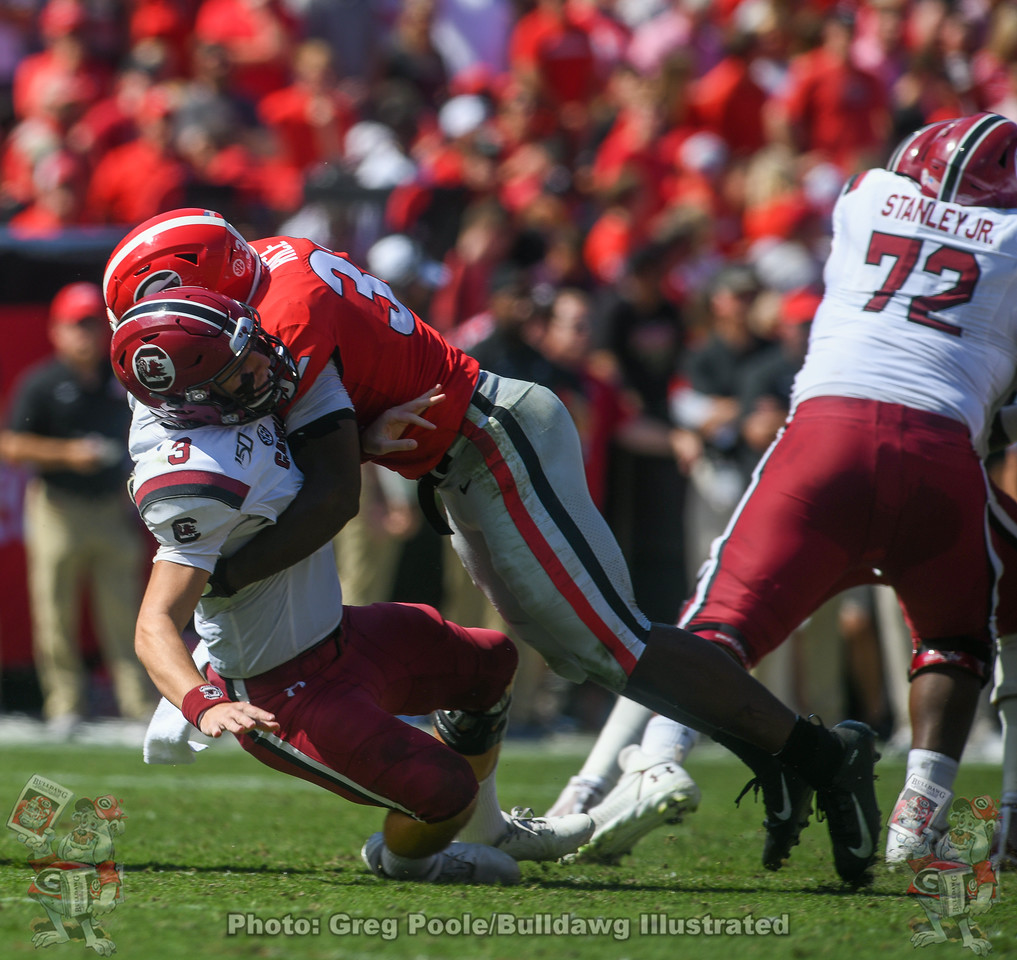 Monty Rice (32) with the hit on Gamecock QB Ryan Hilinski (3) during the second quarter of the South Carolina game on Saturday, October 12, 2019