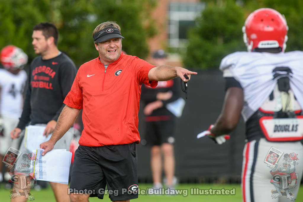 Kirby Smart during UGA football's Tuesday afternoon practice, October 8, 2019