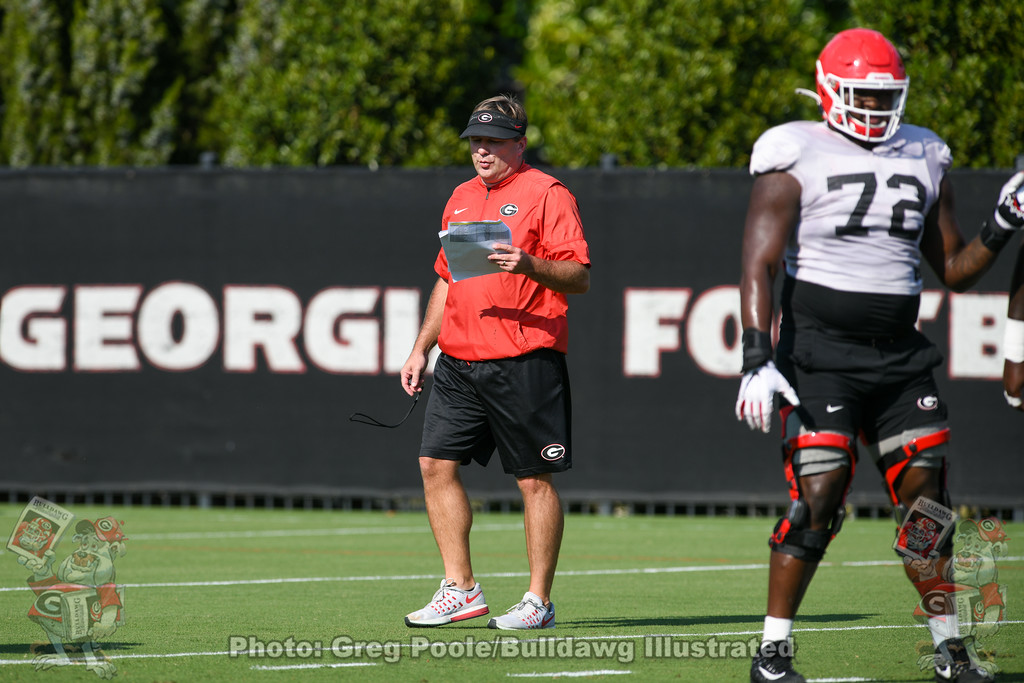 Kirby Smart during Monday afternoon's practice, September 30, 2019